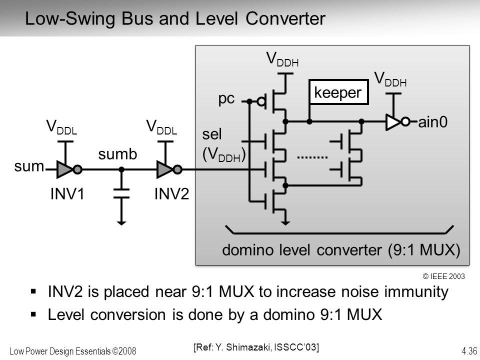 Low Power Design Essentials ©2008 4.36 sum keeper pc sumb V DDH V DDL INV1INV2 domino level converter (9:1 MUX) ain0 sel (V DDH ) V DDH V DDL  INV2 i