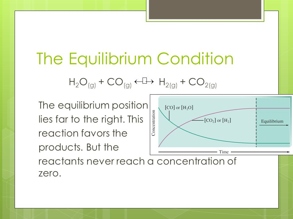 The Equilibrium Condition H 2 O (g) + CO (g) H 2(g) + CO 2(g) The equilibrium position lies far to the right. This reaction favors the products. But t