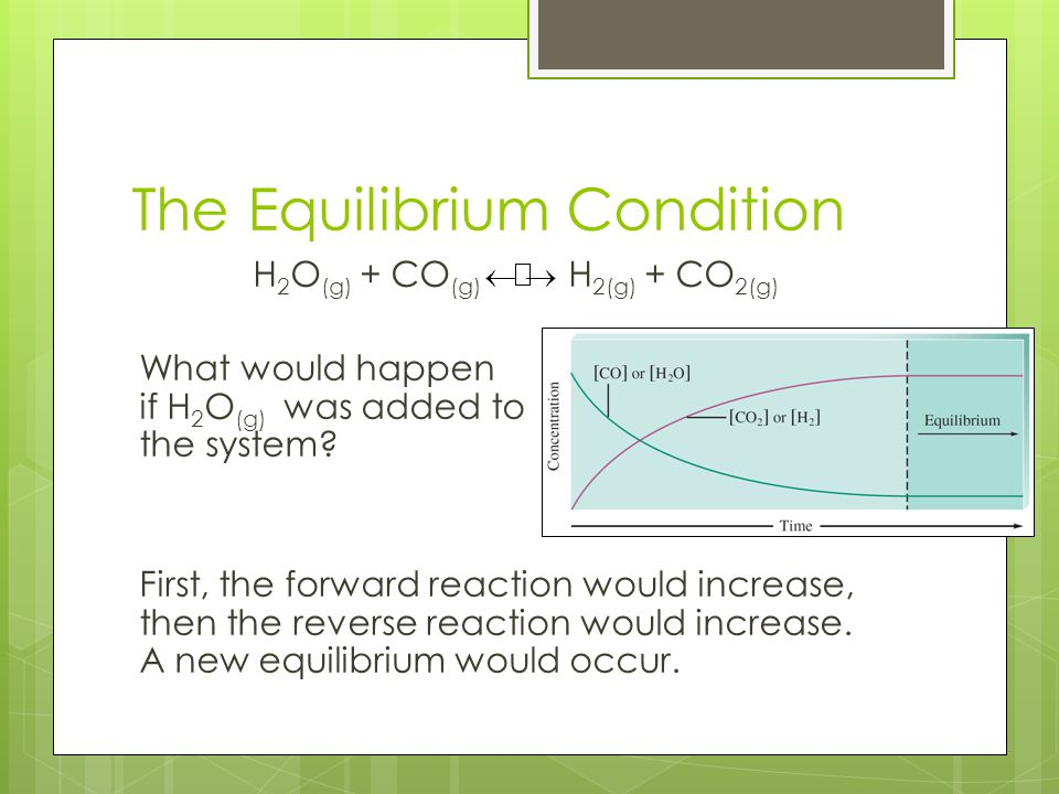 The Equilibrium Condition H 2 O (g) + CO (g) H 2(g) + CO 2(g) What would happen if H 2 O (g) was added to the system? First, the forward reaction woul