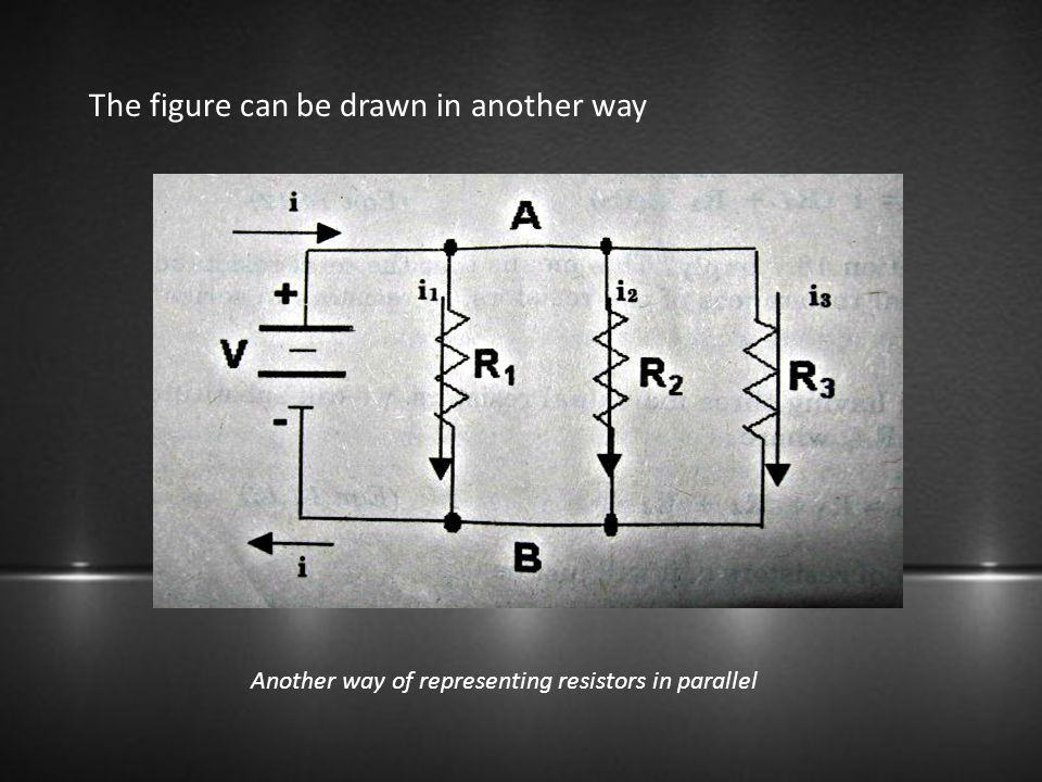 The figure can be drawn in another way Another way of representing resistors in parallel