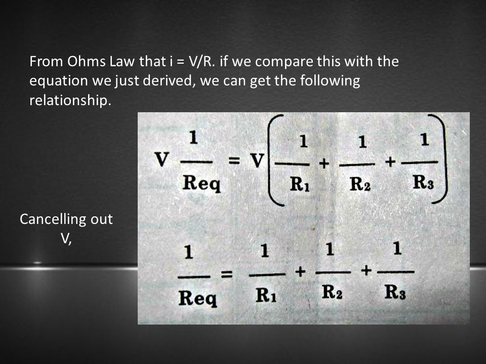 From Ohms Law that i = V/R. if we compare this with the equation we just derived, we can get the following relationship. Cancelling out V,