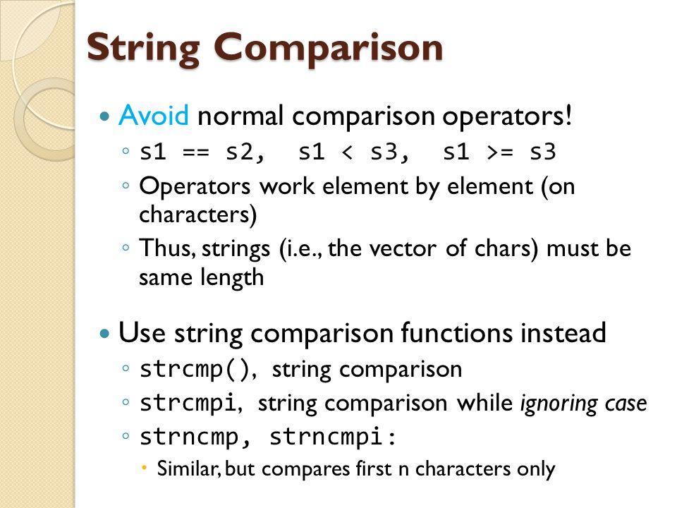 String Comparison Avoid normal comparison operators.