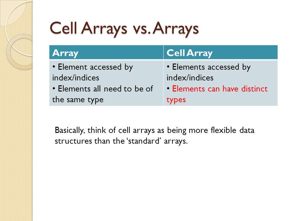 Cell Arrays vs.