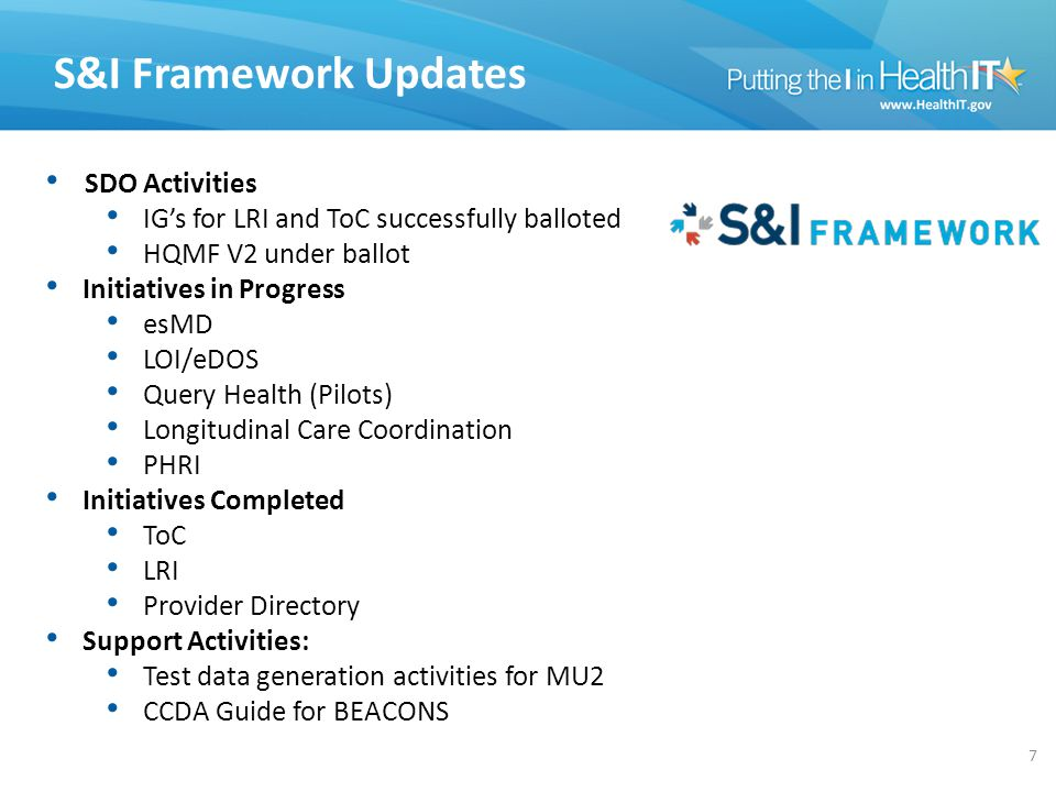 S&I Framework Updates SDO Activities IG's for LRI and ToC successfully balloted HQMF V2 under ballot Initiatives in Progress esMD LOI/eDOS Query Healt