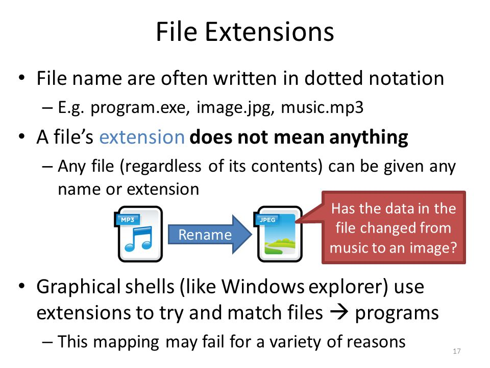 File Extensions File name are often written in dotted notation – E.g. program.exe, image.jpg, music.mp3 A file's extension does not mean anything – An