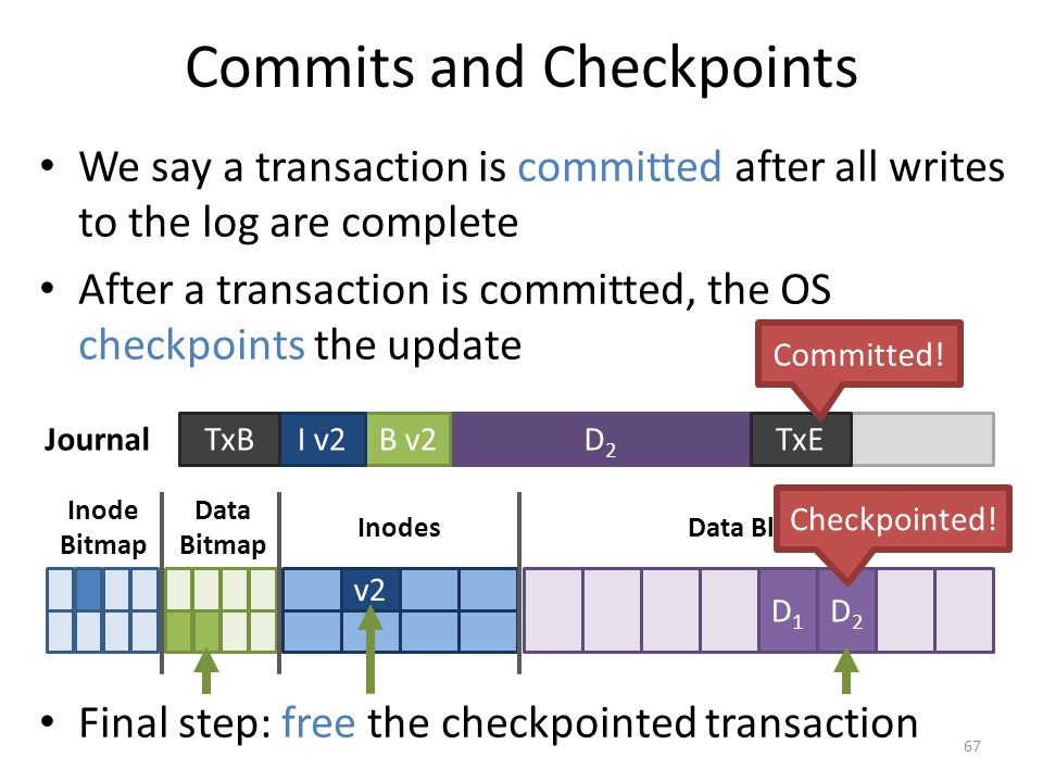 Commits and Checkpoints We say a transaction is committed after all writes to the log are complete After a transaction is committed, the OS checkpoint