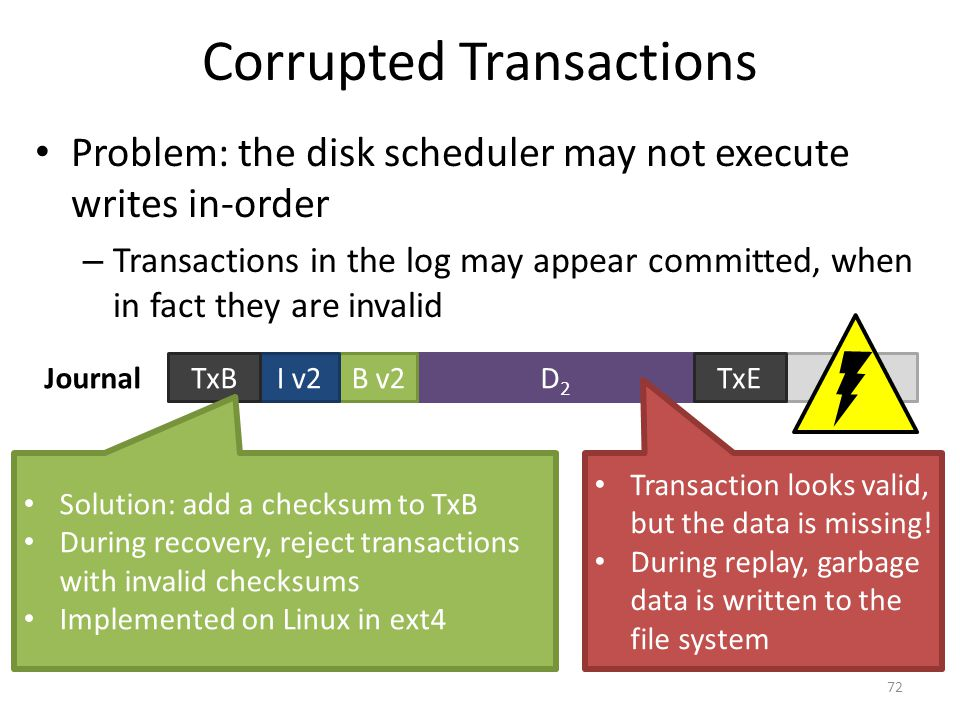 Corrupted Transactions Problem: the disk scheduler may not execute writes in-order – Transactions in the log may appear committed, when in fact they a