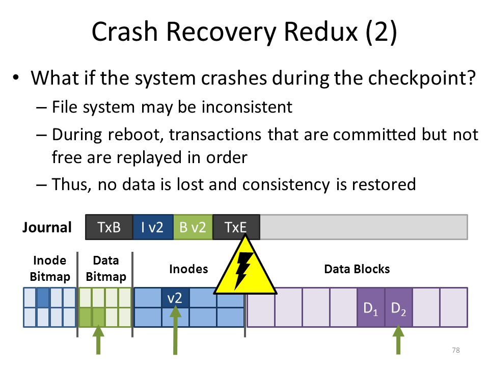 Crash Recovery Redux (2) What if the system crashes during the checkpoint? – File system may be inconsistent – During reboot, transactions that are co