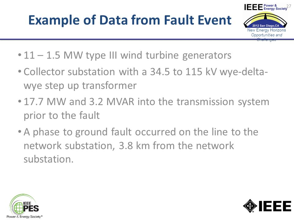 New Energy Horizons Opportunities and Challenges Example of Data from Fault Event 11 – 1.5 MW type III wind turbine generators Collector substation with a 34.5 to 115 kV wye-delta- wye step up transformer 17.7 MW and 3.2 MVAR into the transmission system prior to the fault A phase to ground fault occurred on the line to the network substation, 3.8 km from the network substation.