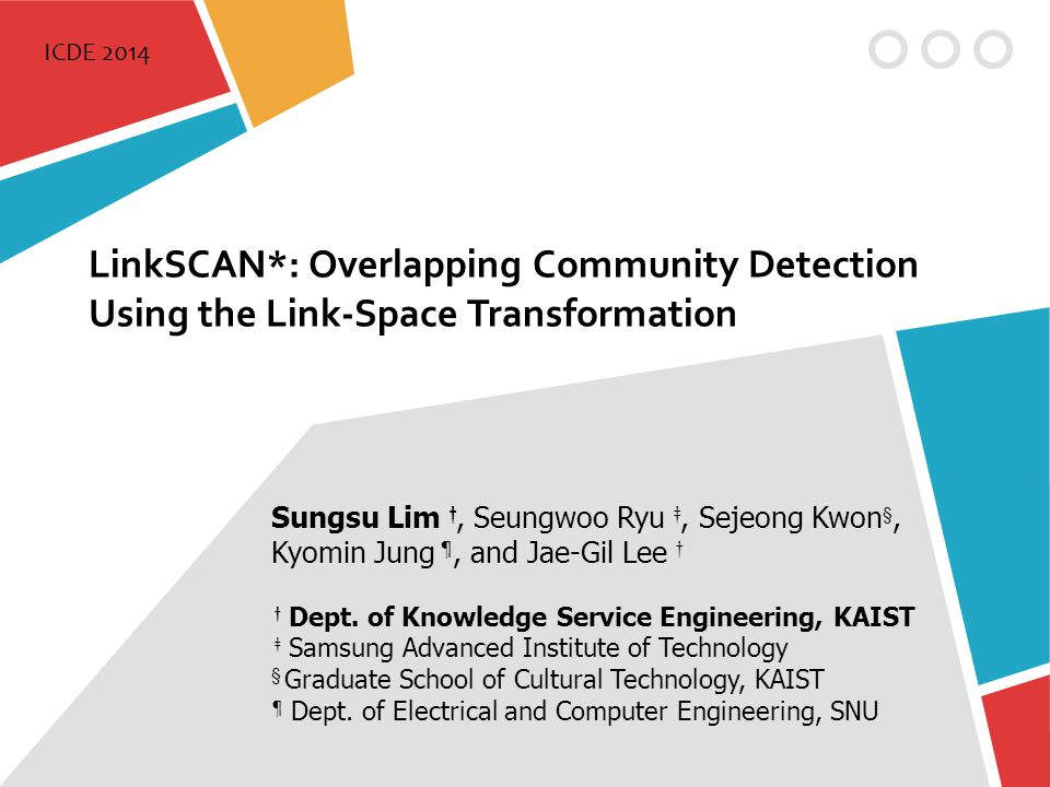LinkSCAN*: Overlapping Community Detection Using the Link-Space Transformation Sungsu Lim †, Seungwoo Ryu ‡, Sejeong Kwon §, Kyomin Jung ¶, and Jae-Gi