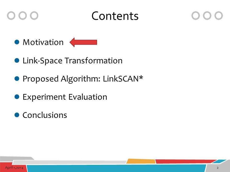 April 1,20142 Contents Motivation Link-Space Transformation Proposed Algorithm: LinkSCAN* Experiment Evaluation Conclusions