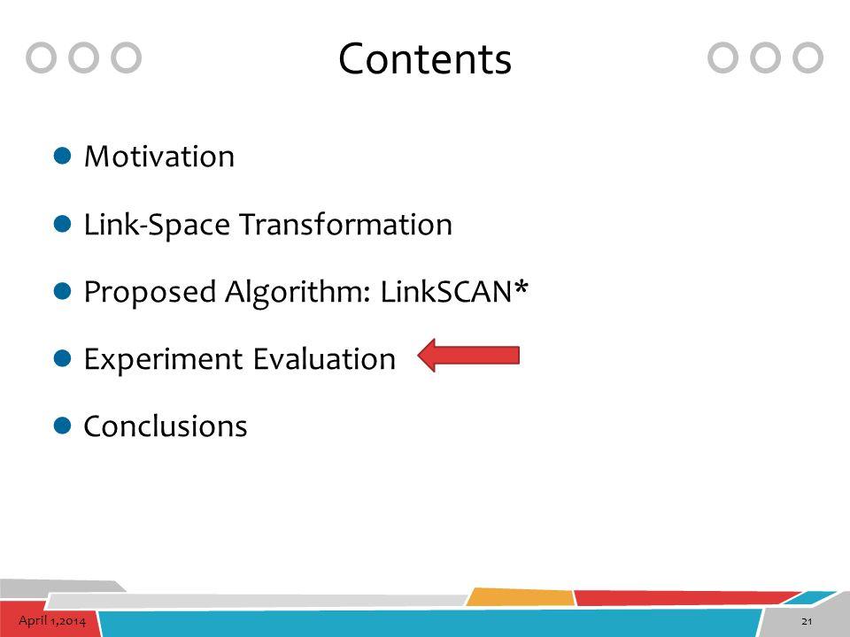 April 1,201421 Contents Motivation Link-Space Transformation Proposed Algorithm: LinkSCAN* Experiment Evaluation Conclusions