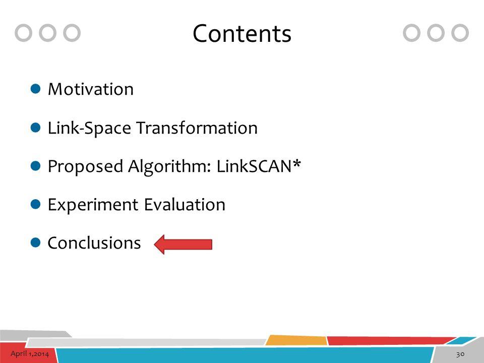 April 1,201430 Contents Motivation Link-Space Transformation Proposed Algorithm: LinkSCAN* Experiment Evaluation Conclusions