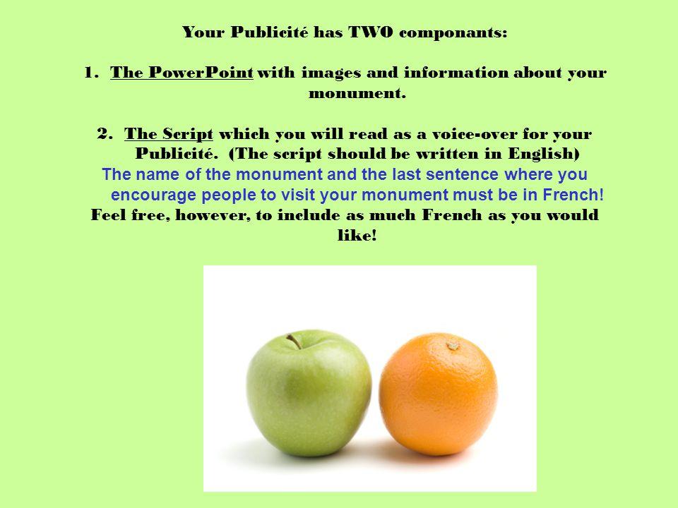 Your Publicité has TWO componants: 1.