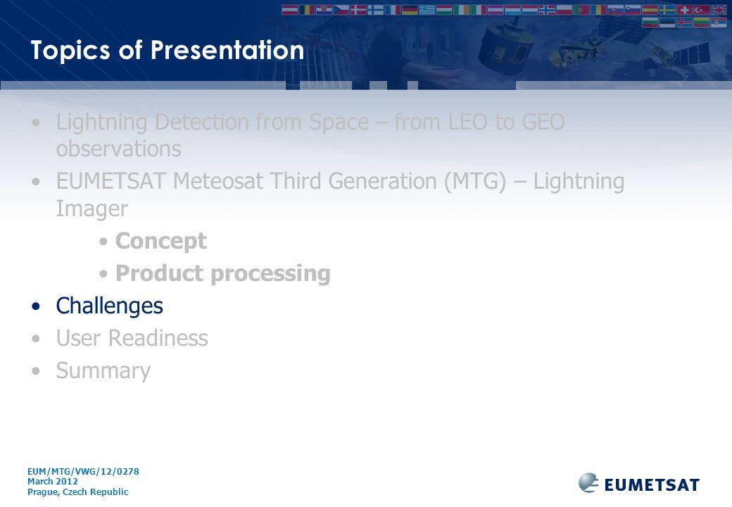 EUM/ Issue Topics of Presentation Lightning Detection from Space – from LEO to GEO observations EUMETSAT Meteosat Third Generation (MTG) – Lightning I