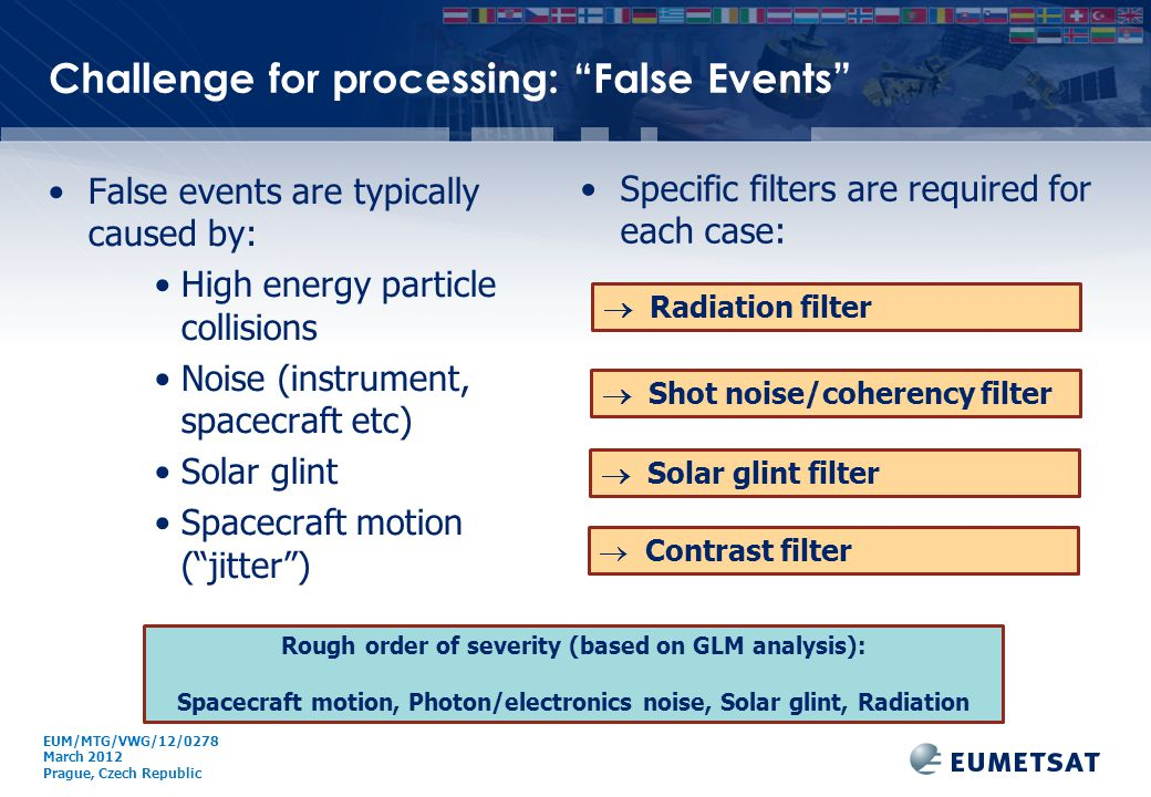 """EUM/ Issue Challenge for processing: """"False Events"""" False events are typically caused by: High energy particle collisions Noise (instrument, spacecraf"""