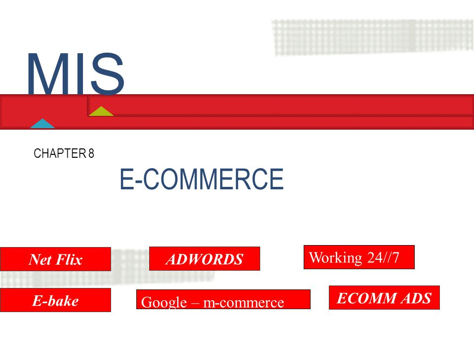 E-COMMERCE CHAPTER 8 Hossein BIDGOLI MIS Net Flix E-bake ADWORDS Google – m-commerce Working 24//7 ECOMM ADS