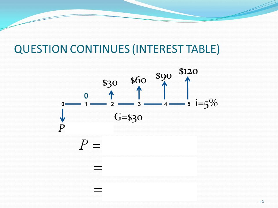 QUESTION CONTINUES (INTEREST TABLE) 0 1 2 3 4 5 G=$30 P= $247.11 i=5% 0 $30 $60 $90 $120 42