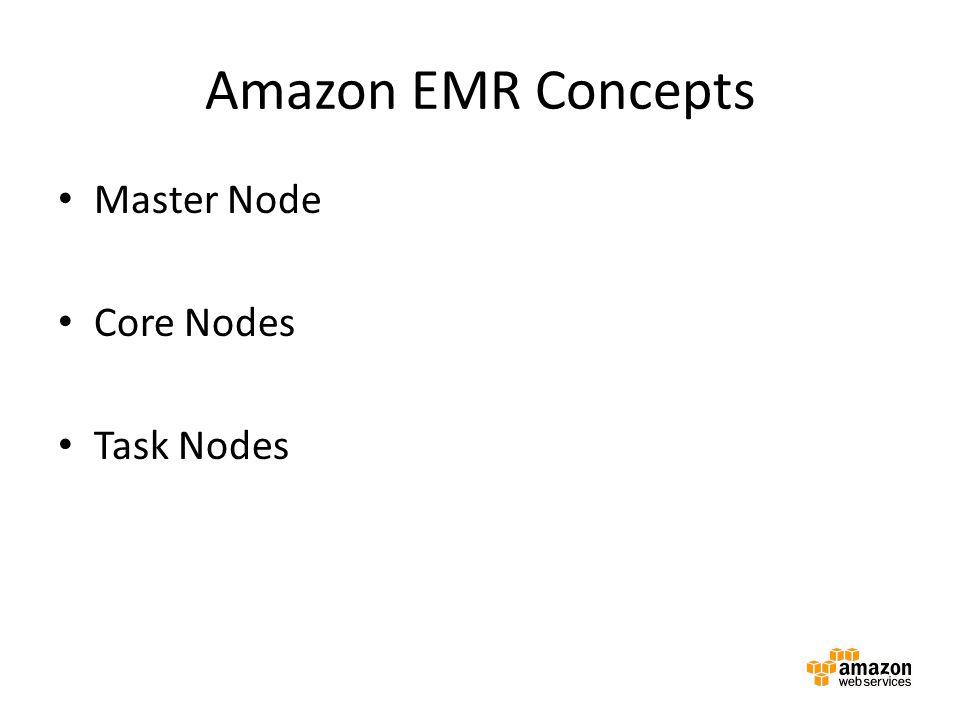 Amazon EMR Concepts Master Node Core Nodes Task Nodes