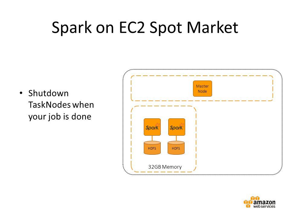 Spark on EC2 Spot Market Master Node Master instance group Amazon EMR cluster HDFS 32GB Memory Shutdown TaskNodes when your job is done