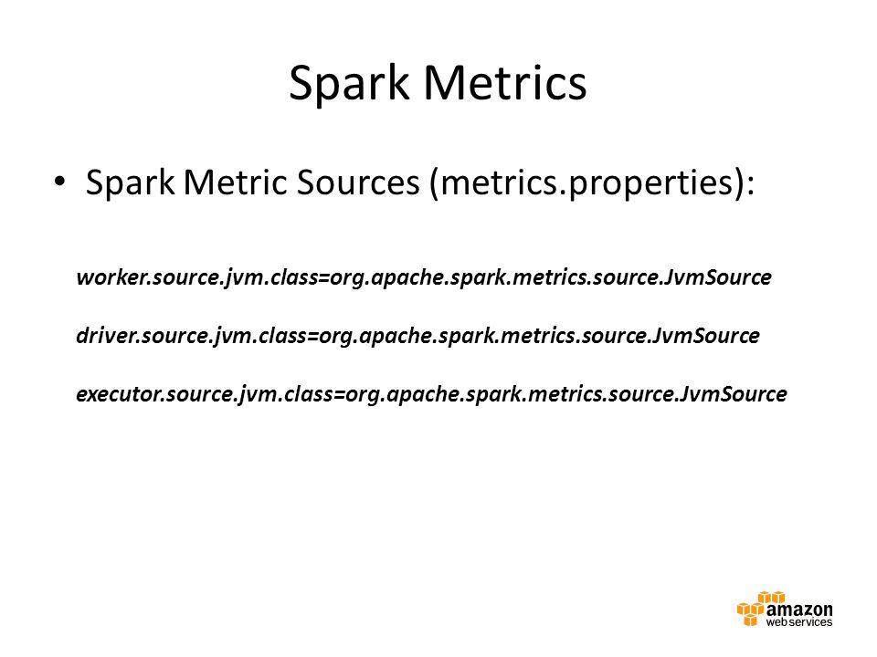 Spark Metrics Spark Metric Sources (metrics.properties): worker.source.jvm.class=org.apache.spark.metrics.source.JvmSource driver.source.jvm.class=org