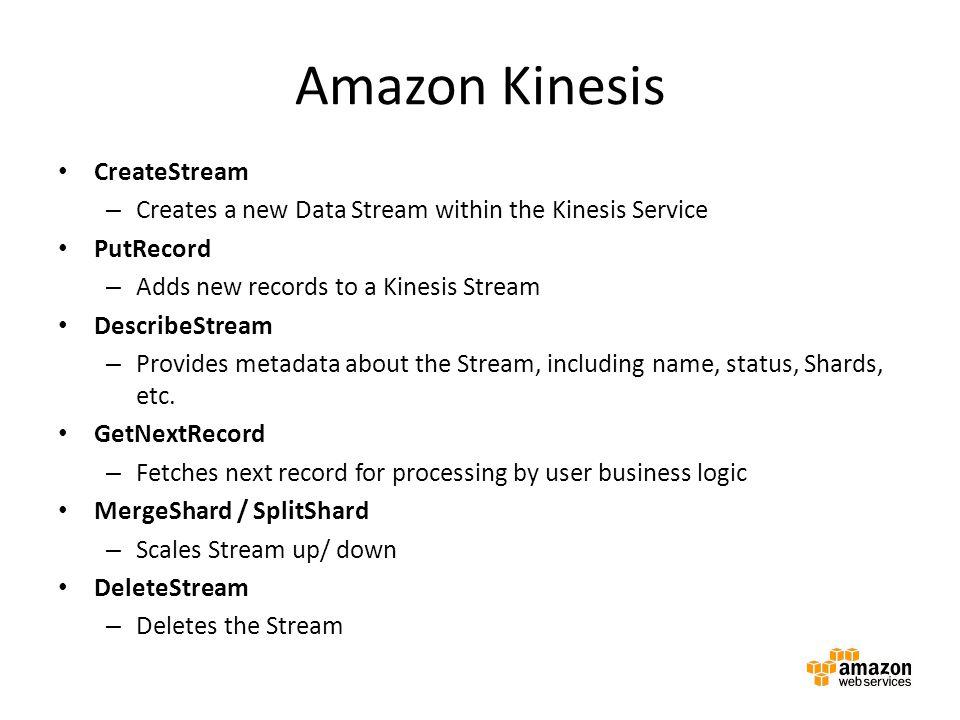 Amazon Kinesis CreateStream – Creates a new Data Stream within the Kinesis Service PutRecord – Adds new records to a Kinesis Stream DescribeStream – P