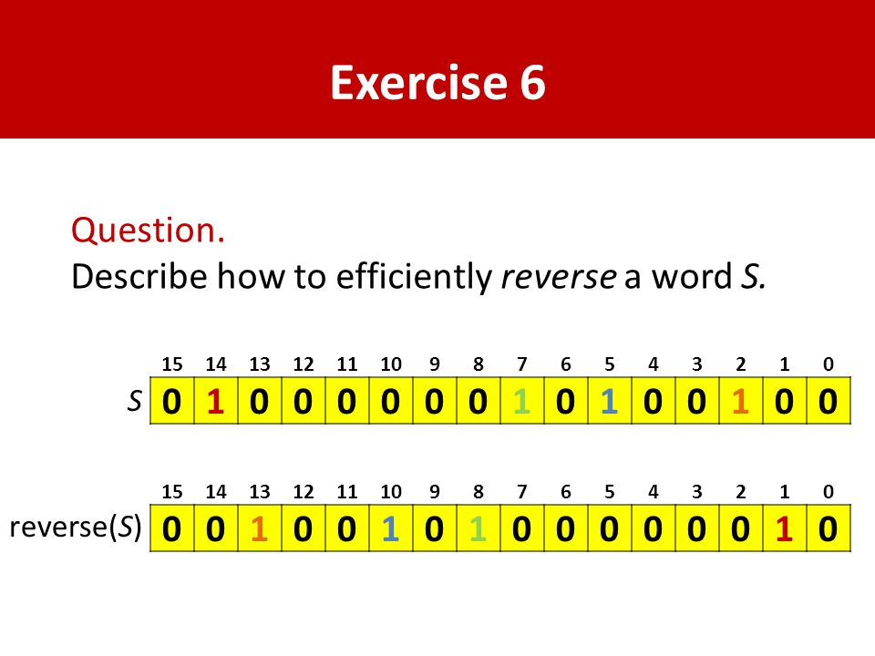 Exercise 6 Question. Describe how to efficiently reverse a word S.