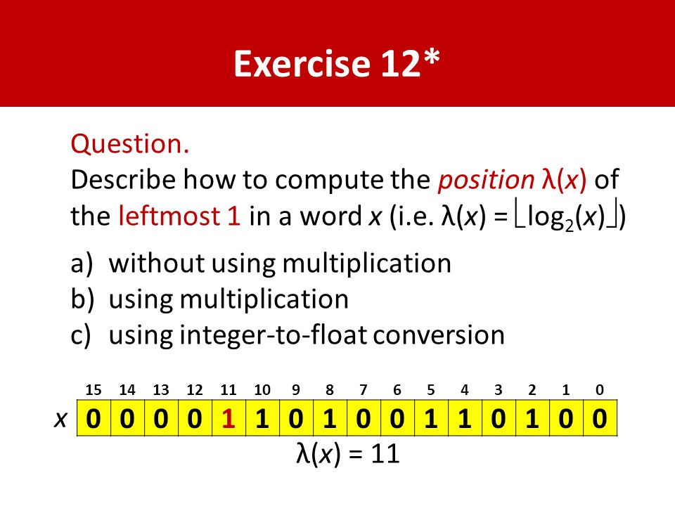 Exercise 12* Question.