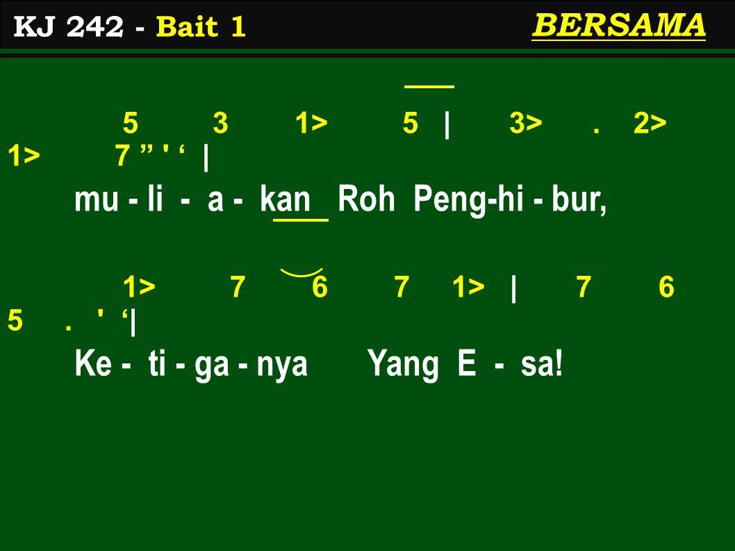 5 3 1> 5 | 3>. 2> 1> 7 ' | mu - li - a - kan Roh Peng-hi - bur, 1> 7 6 7 1> | 7 6 5.