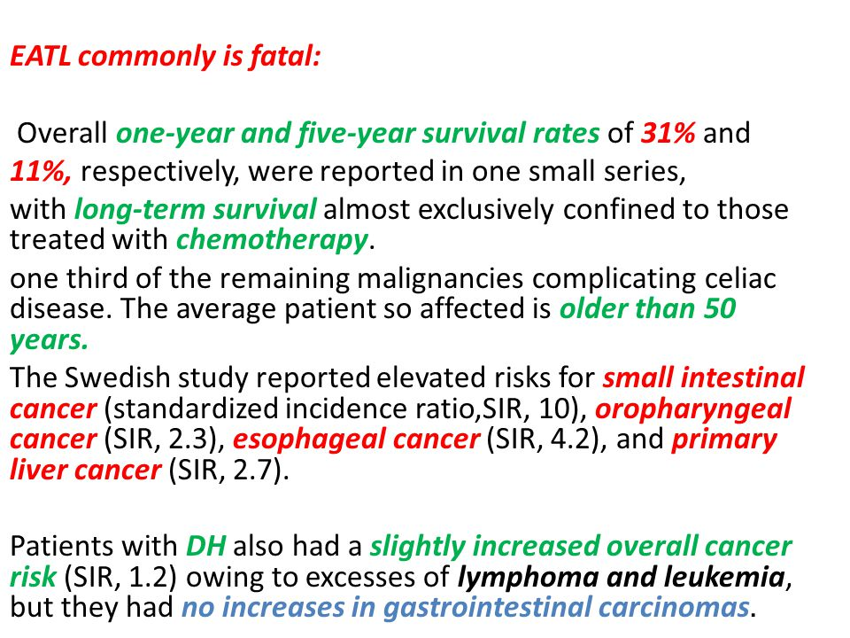 EATL commonly is fatal: Overall one-year and five-year survival rates of 31% and 11%, respectively, were reported in one small series, with long-term survival almost exclusively confined to those treated with chemotherapy.