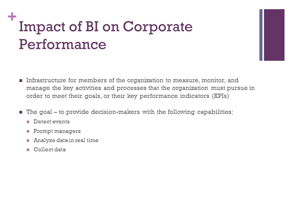 + Impact of BI on Corporate Performance Infrastructure for members of the organization to measure, monitor, and manage the key activities and processe