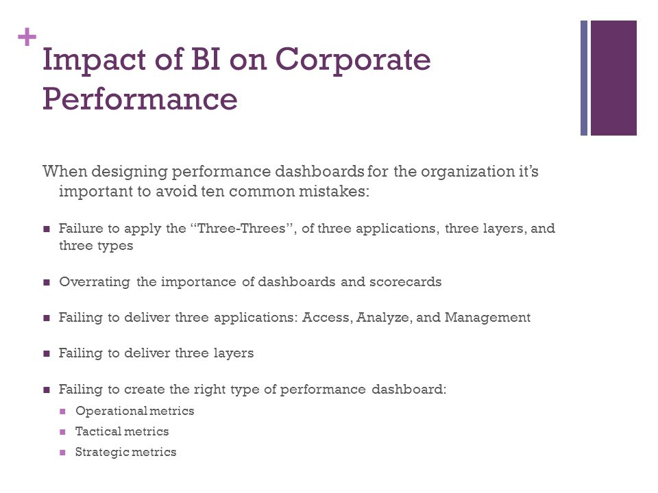 + Impact of BI on Corporate Performance When designing performance dashboards for the organization it's important to avoid ten common mistakes: Failur