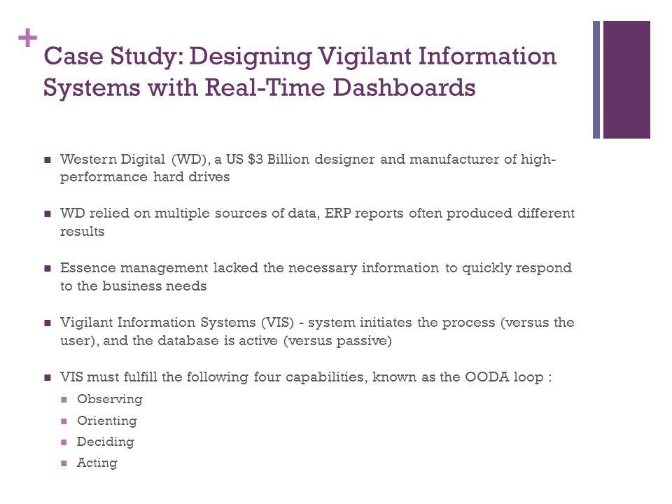 + Case Study: Designing Vigilant Information Systems with Real-Time Dashboards Western Digital (WD), a US $3 Billion designer and manufacturer of high