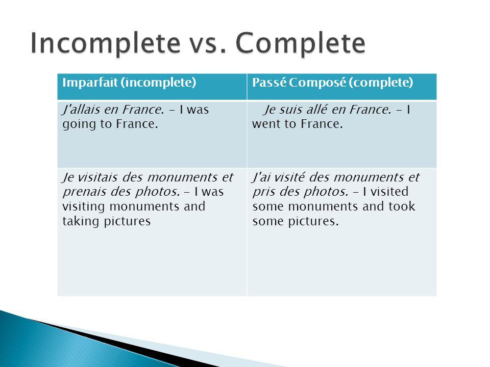 Imparfait (habitual)Passé Composé (occasional) Je voyageais en France tous les ans.