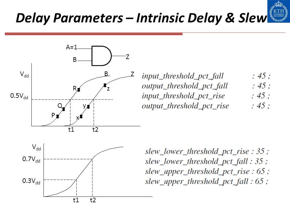 Delay Parameters – Intrinsic Delay & Slew A=1 B Z V dd 0.5V dd t1t2 P Q R B y z x Z t1t2 0.3V dd 0.7V dd V dd