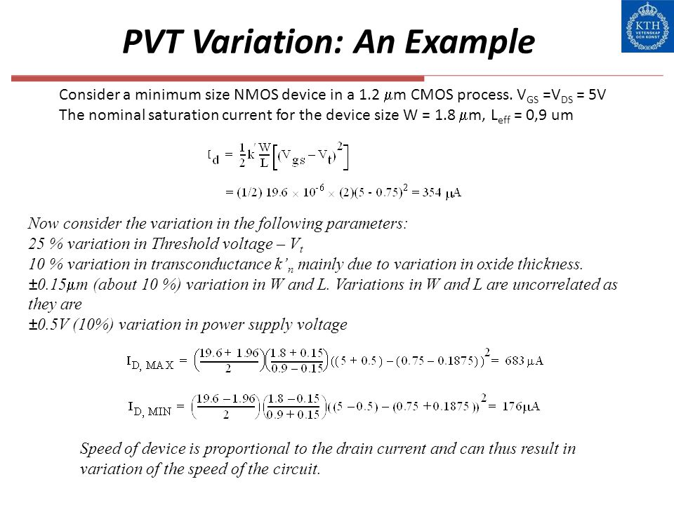 PVT Variation: An Example Now consider the variation in the following parameters: 25 % variation in Threshold voltage – V t 10 % variation in transcon