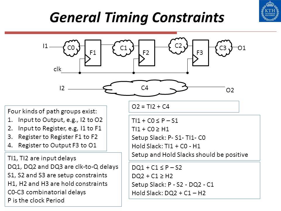 General Timing Constraints I1 clk F1 C1 F3F2 C0 C2 C3O1 C4 I2 O2 Four kinds of path groups exist: 1.Input to Output, e.g., I2 to O2 2.Input to Registe