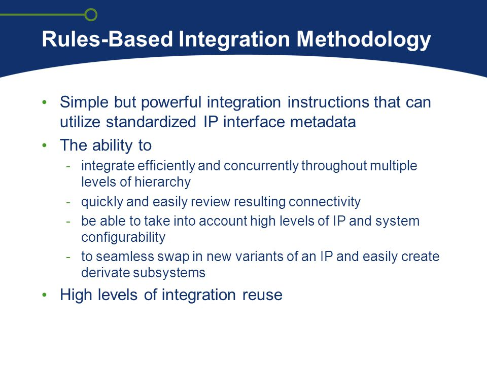 Rules-Based Integration Methodology Simple but powerful integration instructions that can utilize standardized IP interface metadata The ability to -i