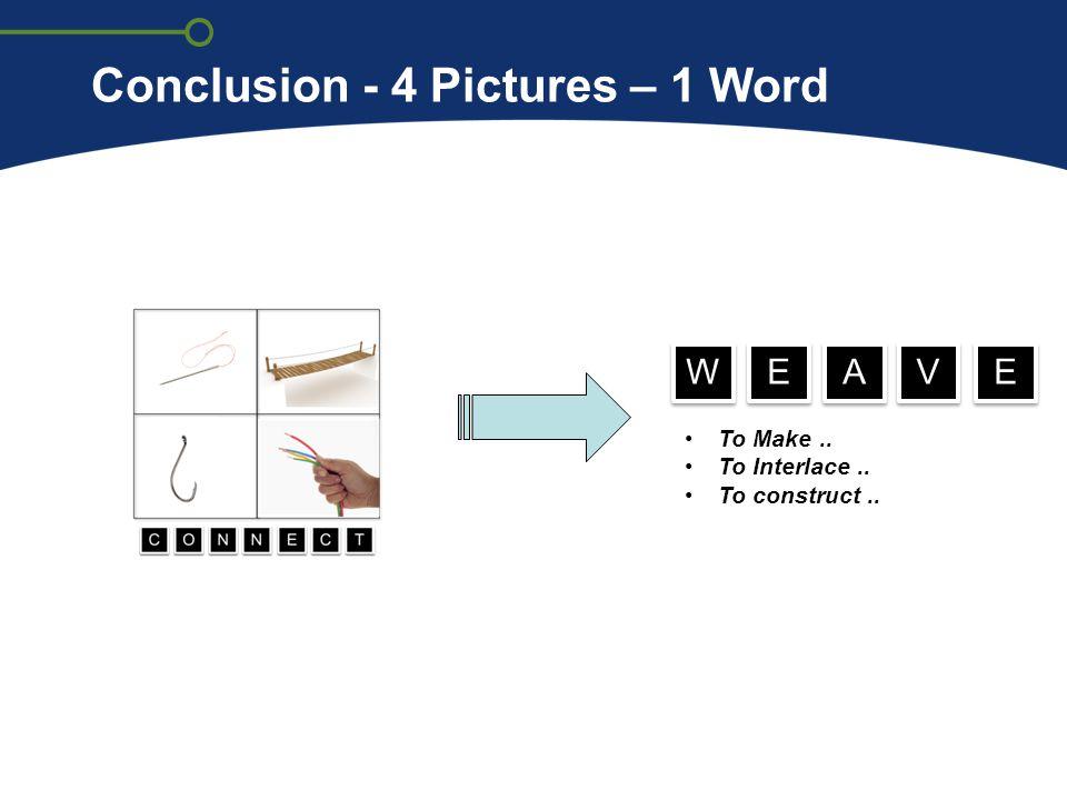 Conclusion - 4 Pictures – 1 Word To Make.. To Interlace.. To construct.. W W E E A A V V E E