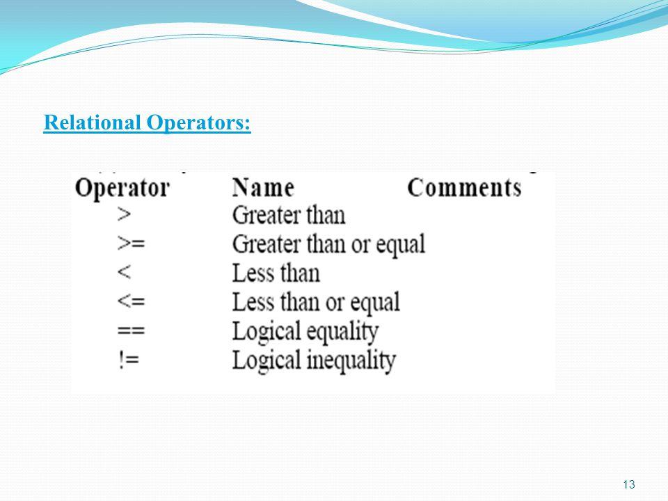 Relational Operators: 13