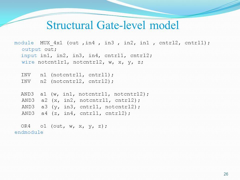 Structural Gate-level model module MUX_4x1 (out,in4, in3, in2, in1, cntrl2, cntrl1); output out; input in1, in2, in3, in4, cntrl1, cntrl2; wire notcnt
