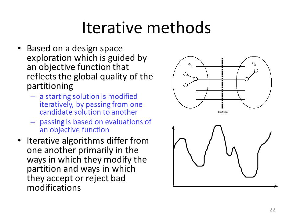 Iterative methods Based on a design space exploration which is guided by an objective function that reflects the global quality of the partitioning – a starting solution is modified iteratively, by passing from one candidate solution to another – passing is based on evaluations of an objective function Iterative algorithms differ from one another primarily in the ways in which they modify the partition and ways in which they accept or reject bad modifications 22