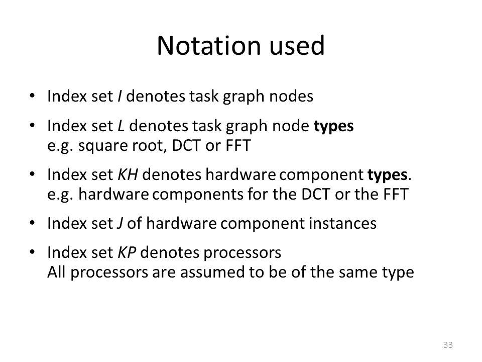 Notation used Index set I denotes task graph nodes Index set L denotes task graph node types e.g.