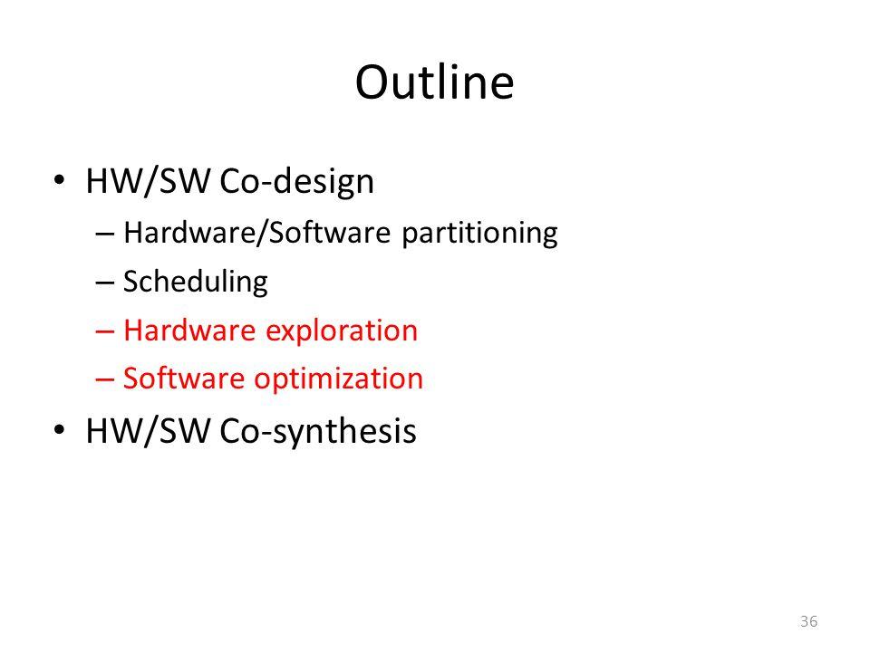Outline HW/SW Co-design – Hardware/Software partitioning – Scheduling – Hardware exploration – Software optimization HW/SW Co-synthesis 36