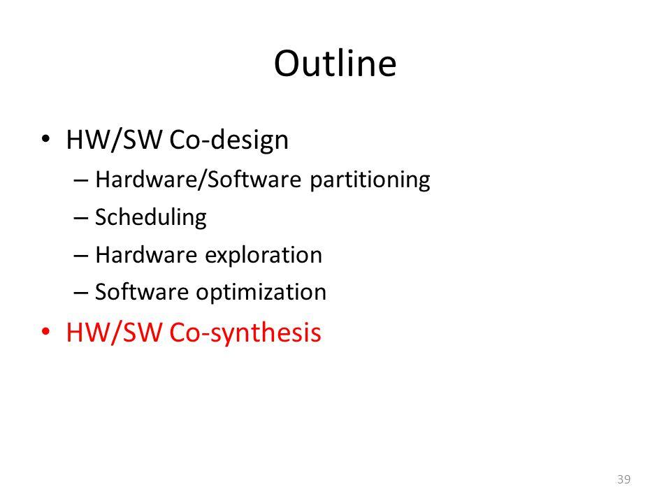 Outline HW/SW Co-design – Hardware/Software partitioning – Scheduling – Hardware exploration – Software optimization HW/SW Co-synthesis 39