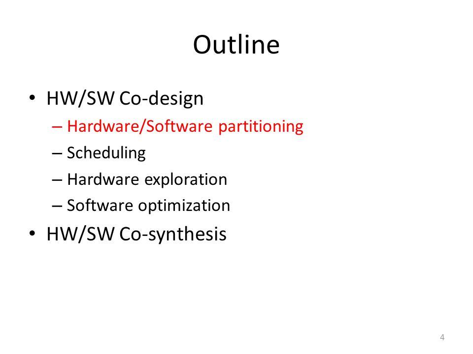Outline HW/SW Co-design – Hardware/Software partitioning – Scheduling – Hardware exploration – Software optimization HW/SW Co-synthesis 4