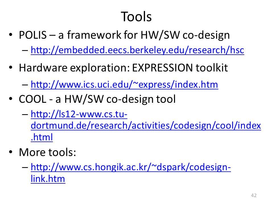 Tools POLIS – a framework for HW/SW co-design – http://embedded.eecs.berkeley.edu/research/hsc http://embedded.eecs.berkeley.edu/research/hsc Hardware exploration: EXPRESSION toolkit – http://www.ics.uci.edu/~express/index.htm http://www.ics.uci.edu/~express/index.htm COOL - a HW/SW co-design tool – http://ls12-www.cs.tu- dortmund.de/research/activities/codesign/cool/index.html http://ls12-www.cs.tu- dortmund.de/research/activities/codesign/cool/index.html More tools: – http://www.cs.hongik.ac.kr/~dspark/codesign- link.htm http://www.cs.hongik.ac.kr/~dspark/codesign- link.htm 42