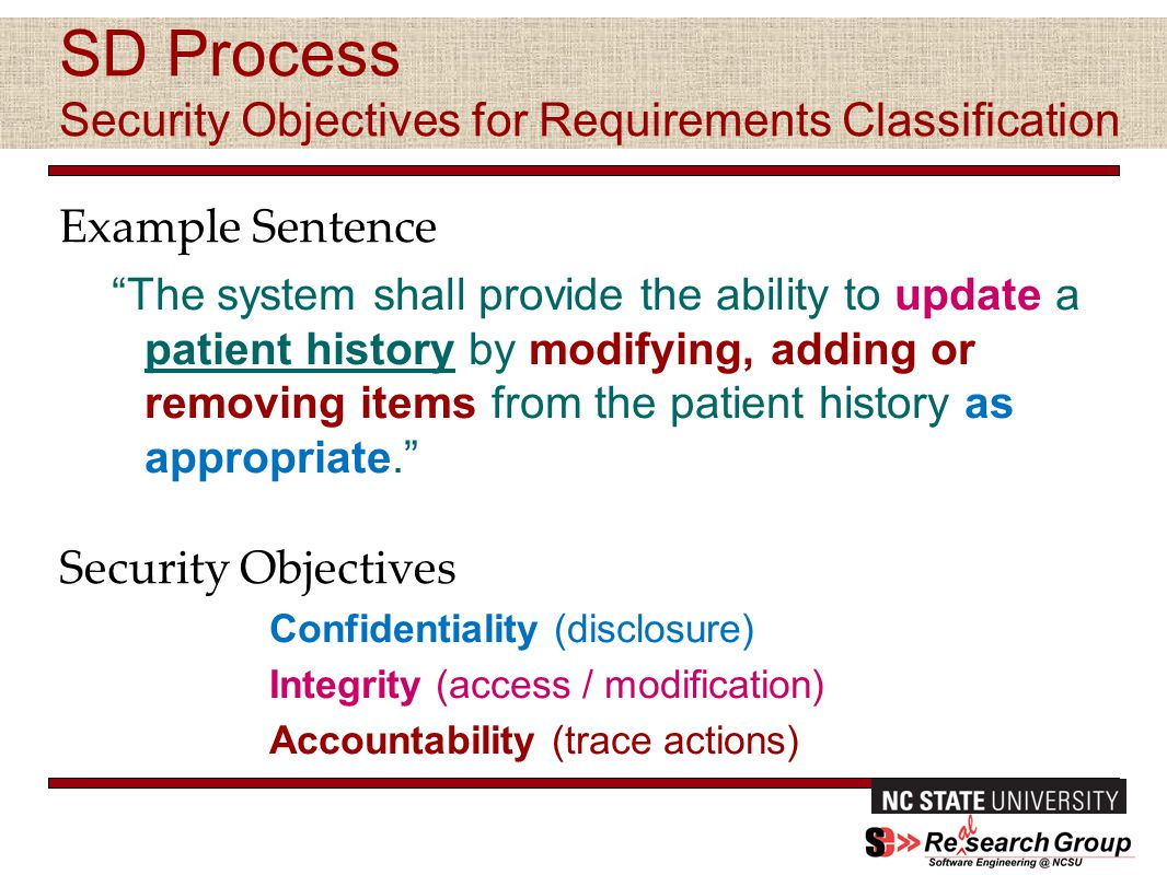 SD Process Security Objectives for Requirements Classification Example Sentence The system shall provide the ability to update a patient history by modifying, adding or removing items from the patient history as appropriate. Security Objectives Confidentiality (disclosure) Integrity (access / modification) Accountability (trace actions) Fall 2013 Community Forum October 22, 2013