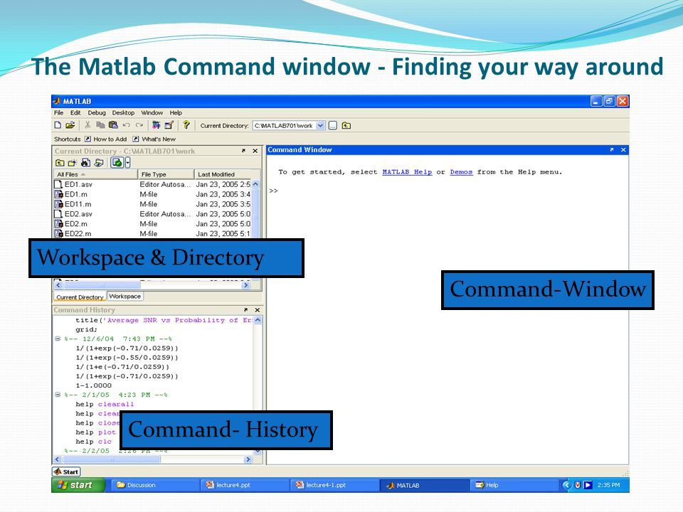 Programming in Matlab Creating arrays in Matlab The simplest way of creating small arrays in Matlab is to manually enter the elements in the command window, row by row.