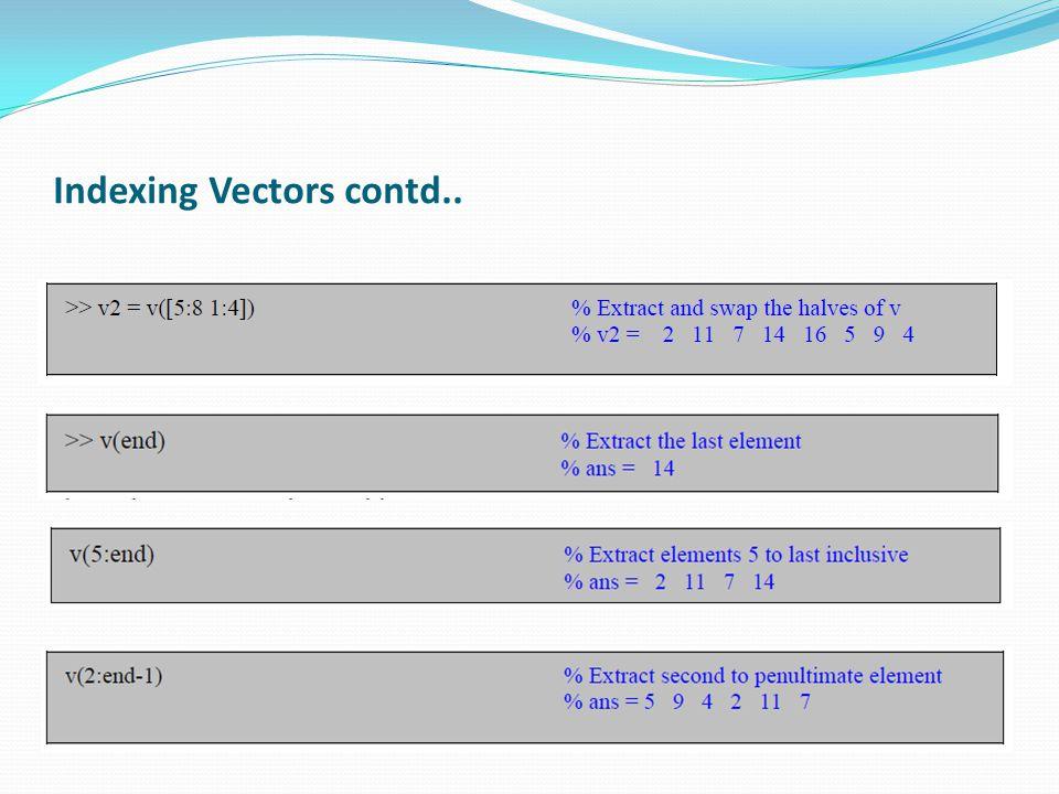 Indexing Vectors contd..